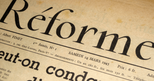"""La """"Une"""" du premier numéro de Réforme, le 24 mars 1945."""