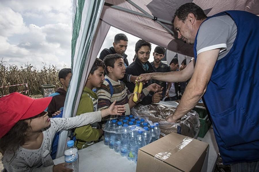 Avec les réfugiés à la frontière serbe