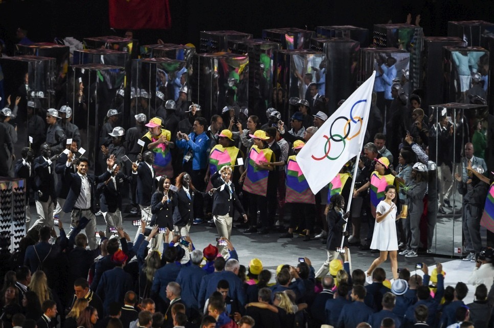 Rose leads the Refugee Olympic Team at the Opening Ceremony of the Rio2016 Games.
