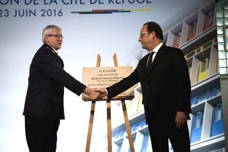 Le président François Hollande a inauguré la Cité de Refuge de l'Armée du Salut après sa restauration.