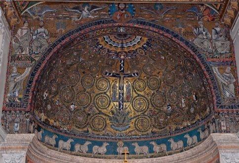 Extraordinaire mosaïque du Christ en croix