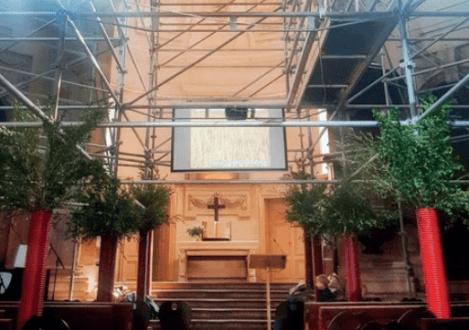 Temple du Marais : vivre avec des échafaudages