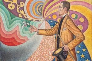 Paul Signac (1863-1935), Opus 217. Sur l'émail d'un fond rythmique des mesures et d'angles, de tons et des teintes, portrait de M. Félix Fénéon en 1890