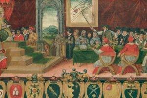 La commission de réforme calendaire devant le pape Grégoire XIII, Registre de Sienne.