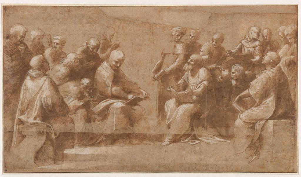 Raphaël, Étude pour la Dispute du Saint Sacrement : vingt clercs et ecclésiastiques discutant. © RMN-Grand Palais Domaine de Chantilly / Gérard Blot