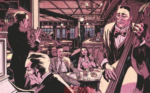 Un groupe de jazz joue dans une pièce dans les années 1940 un couple souriant assis à une table les regarde en buvant de l'alcool