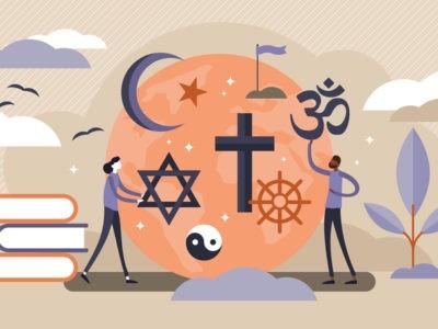 Illustration de personnes tenant les signes de différentes religions comme l'islam, le judaïsme ou le christianisme