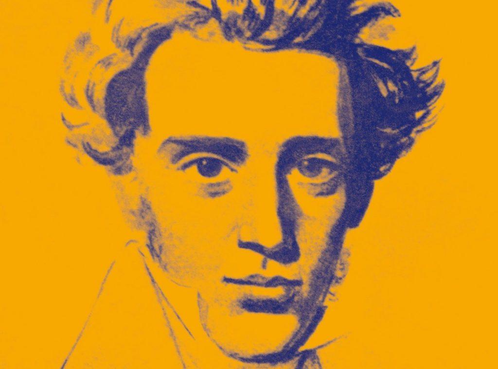 Kierkegaard barbe et cheveux mi-long dessiné en bleu sur fond jaune
