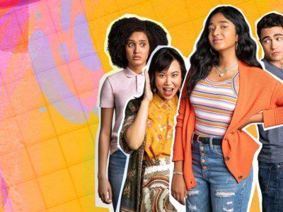 Un groupe de quatre jeune sur dont la silhouette est découpée sur un fond dégradé du rose au jaune