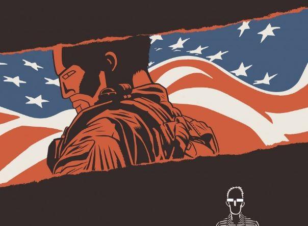 Couverture de la BD, un drapeau americain se détache d'un fond noir avec le dessin rouge de Chris Kyle de biais en habit de soldat.